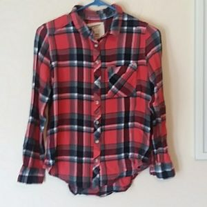 Red, blue & white plaid Arizona shirt size medium